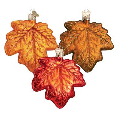 Assorted Maple Leaf Ornament Front Side View