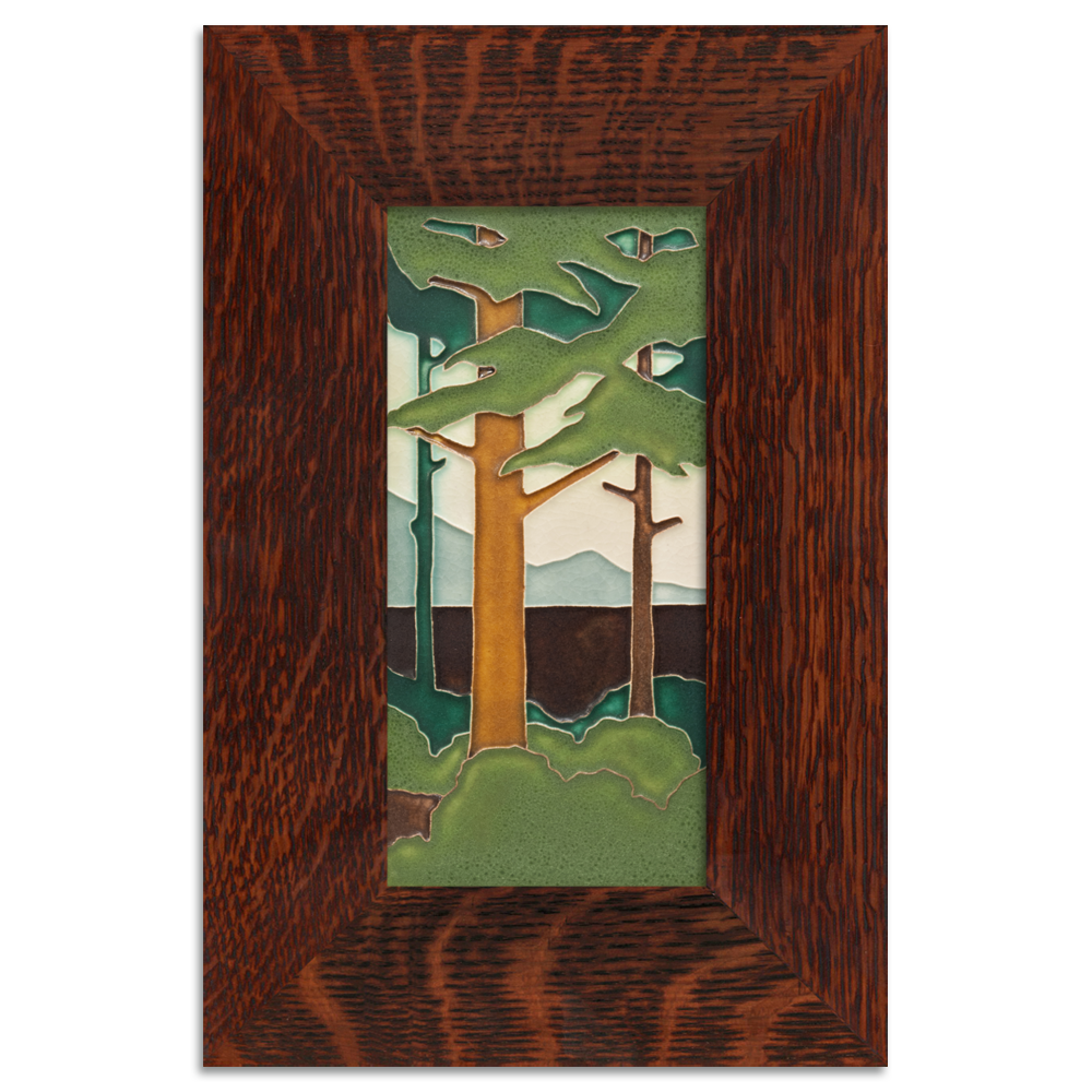 Motawi Pine landscape tile with oak frame