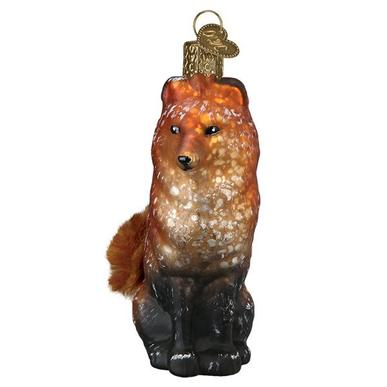 Vintage Fox Ornament Front Side View