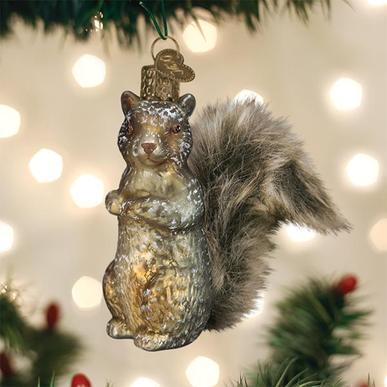 Vintage Squirrel Ornament on Tree