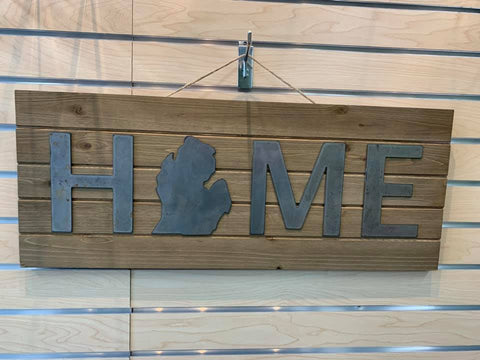 Wood and Steel Michigan Home Sign