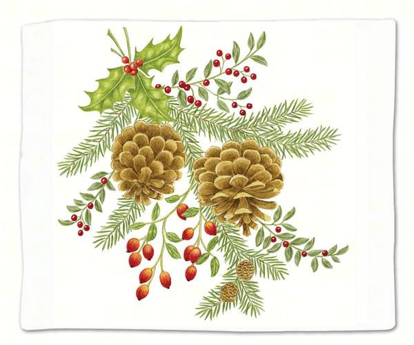 Holiday Pinecones Single Flour Sack Towel