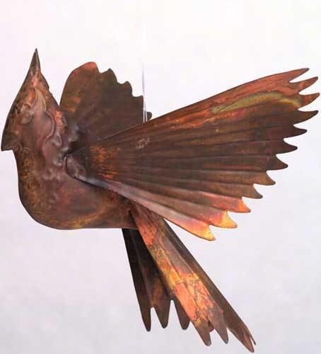 Flamed Cardinal Ornament.