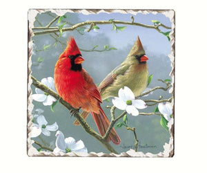 Cardinals Number 3 Single Tumbled Tile Coaster