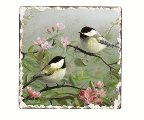 Chickadee Number 1 Single Tumbled Tile Coaster