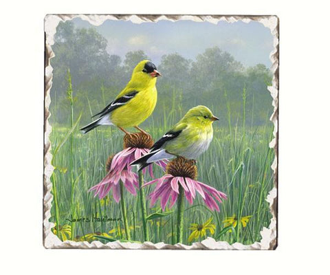 Goldfinches Single Tumbled Tile Coaster