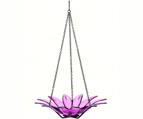 purple glass bird bath