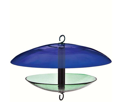 Cobalt recycled glass feeder with weather dome