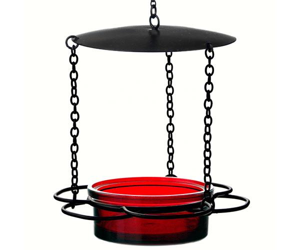 red hanging floral feeder