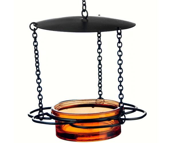 orange hanging floral feeder