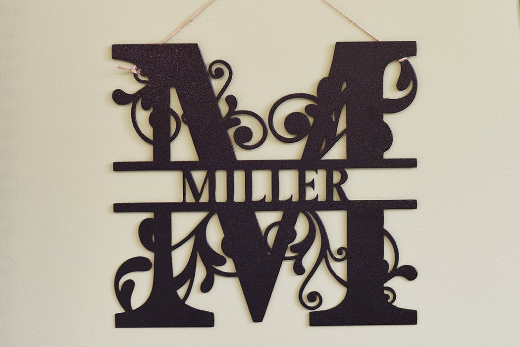 split letter monogram powder coated
