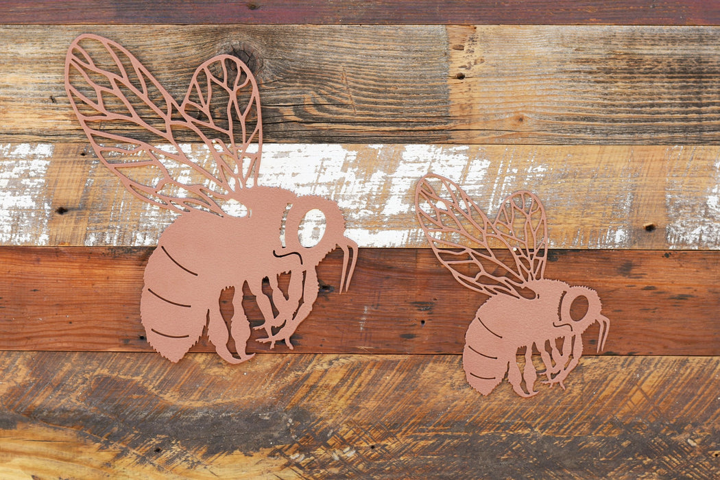 Copper wrinkle bumble bee metal art