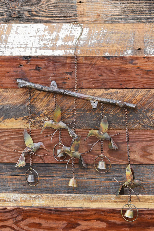 Hummingbird Flamed Copper Wind Chime with Wood Background