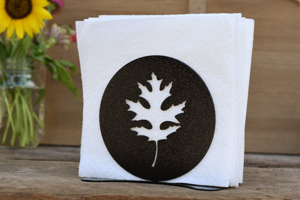 black oak leaf napkin holder