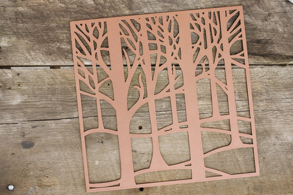 tree wall art in copper
