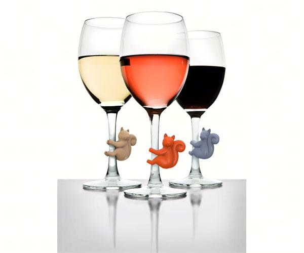 Social Climbers Squirrel Wine Charms