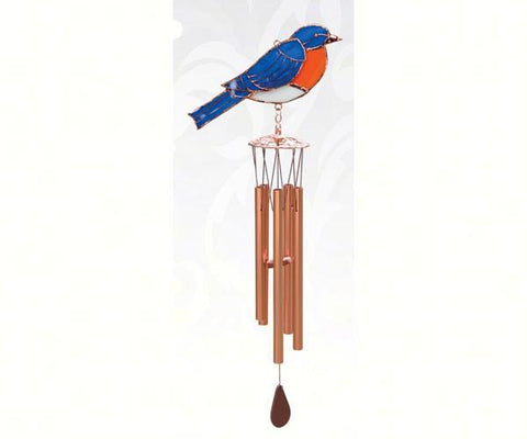 bluebird stained glass wind chime