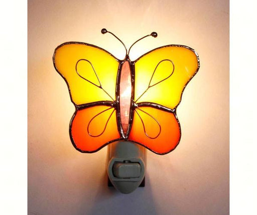 Stained Glass Yellow & Orange Butterfly Nightlight