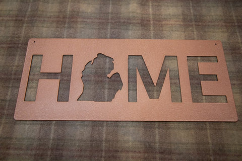 Metal Michigan Home sign