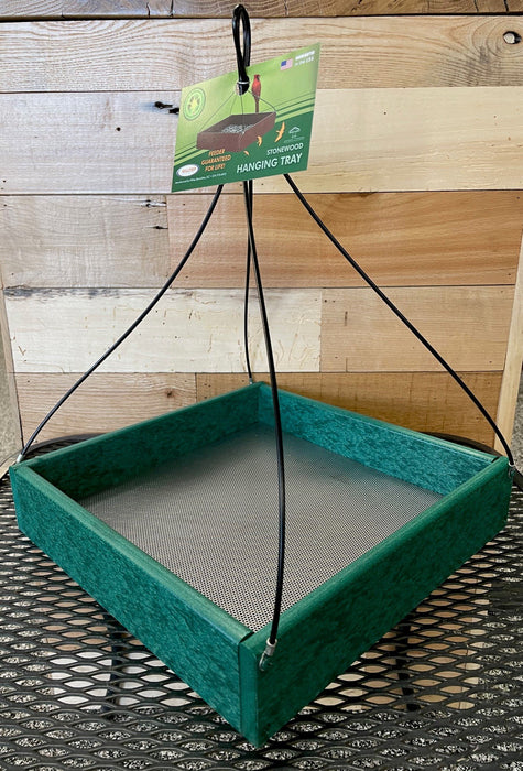 "Hanging Tray Recycled Feeder -  12"" x 12"" in Green"