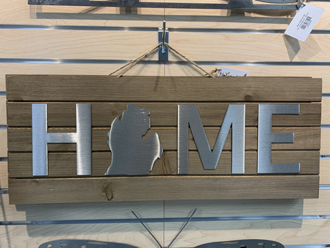 Wood and Stainless Steel Michigan Home Sign