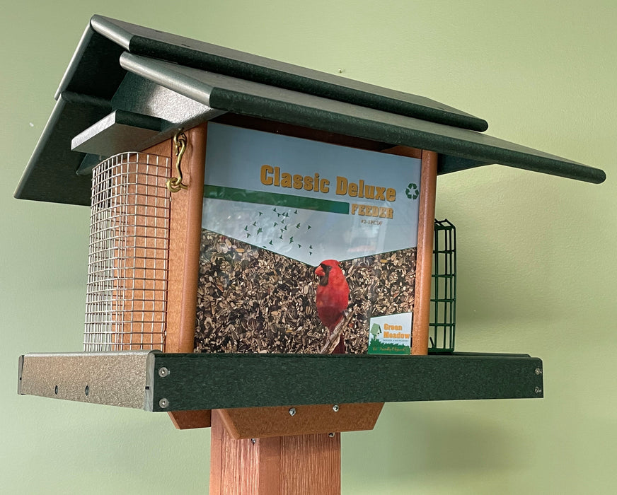 Classic Deluxe Feeder in Turf Green and Cedar Side View