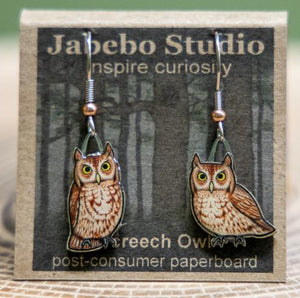 Jabebo Screech Owl (Red) earrings
