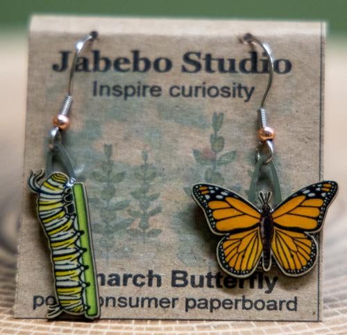 Jabebo monarch butterfly earrings
