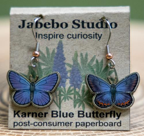 Jabebo karner blue butterfly earrings