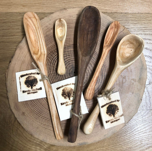 Assorted Wooden Spoons on Ash slab