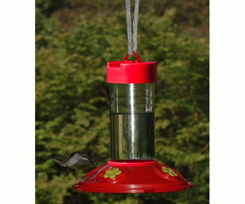 Dr. JB's 16 oz Clean Hummingbird Feeder - Red with Yellow Flowers