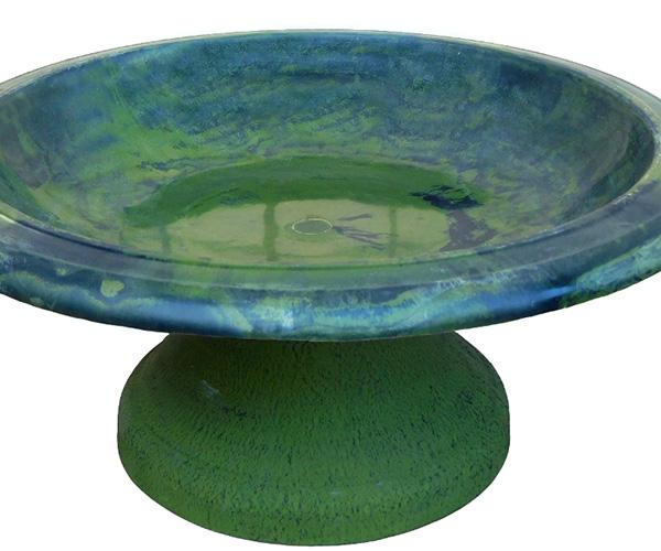 Fiber Clay Bird Bowl with Small Base - Green