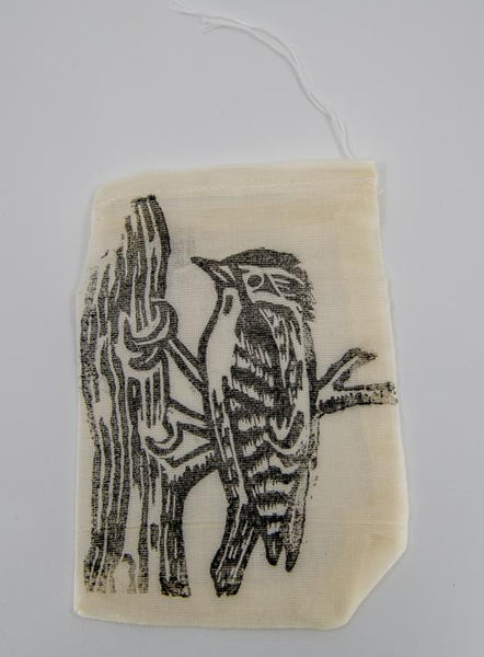 downy woodpecker cotton pouch