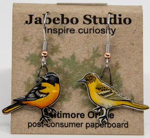 Baltimore oriole earrings