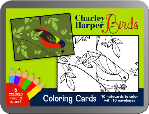 Charley Harper Birds Coloring Cards tin cover