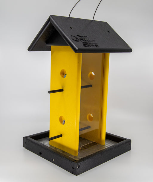 Yellow and black songbird feeder