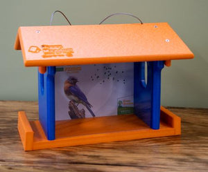 Recycled blue bird feeder