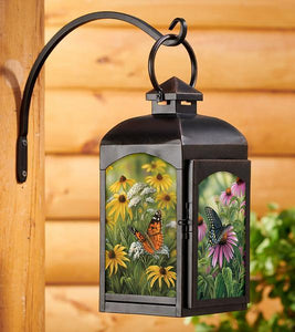 Butterflies Candle Lantern Black Finish