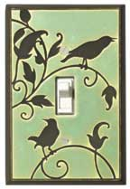 Songbirds Green Light Switch Plate Cover