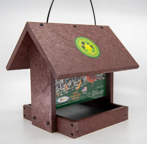 Diner recycled bird feeder in cherry wood