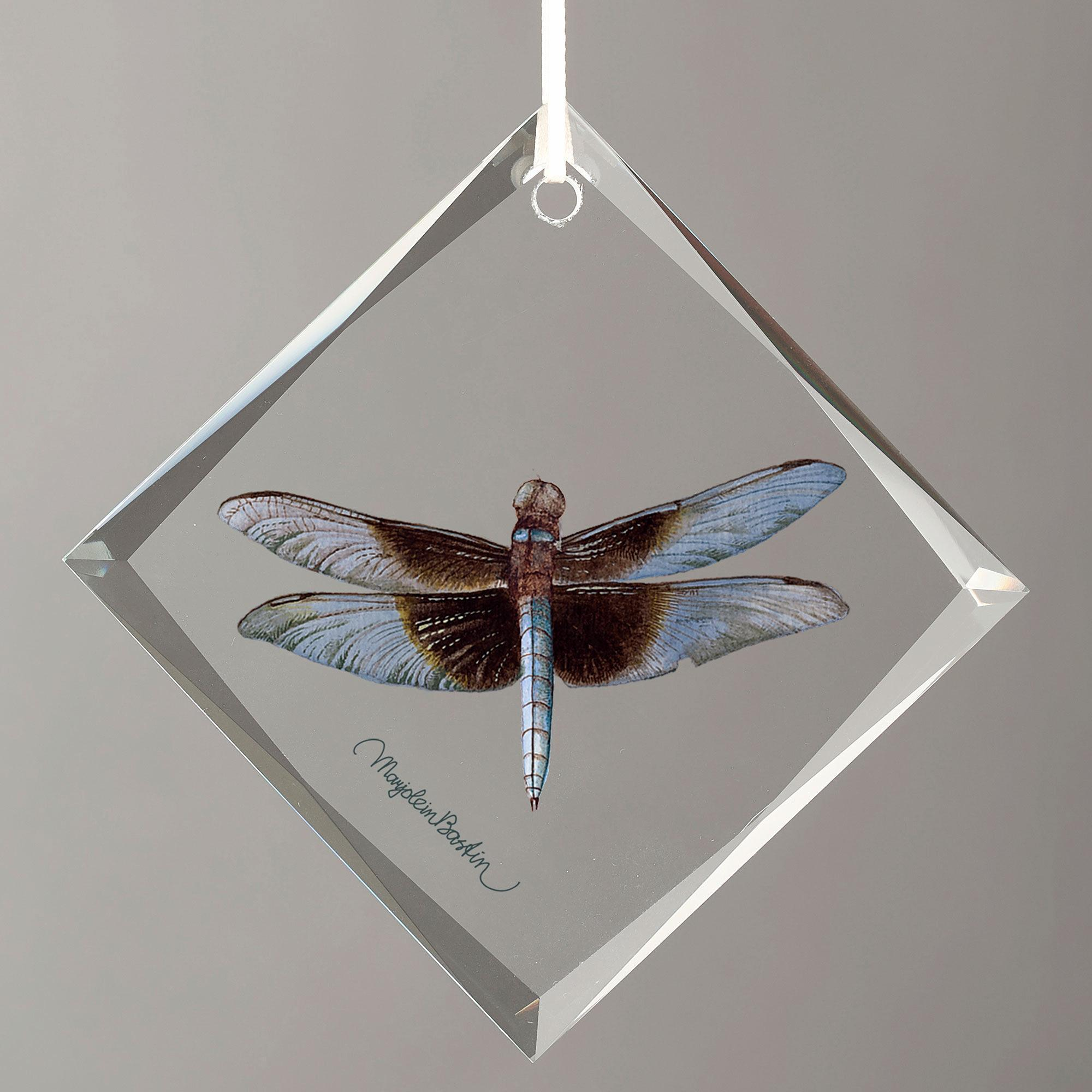 Widow Skimmer Male Diamond-Shape Glass Ornament