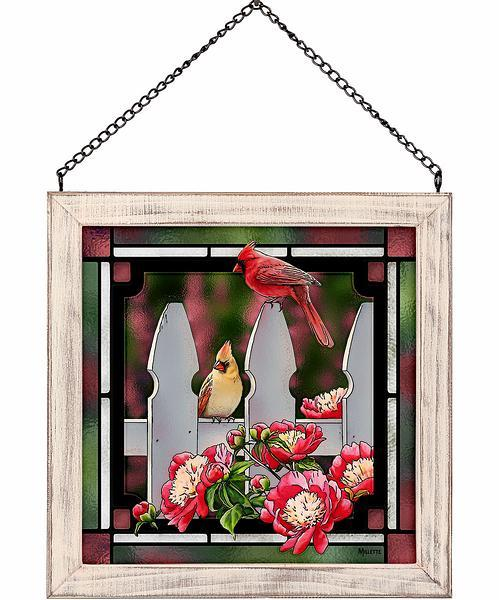 picket fence - cardinals stained glass art