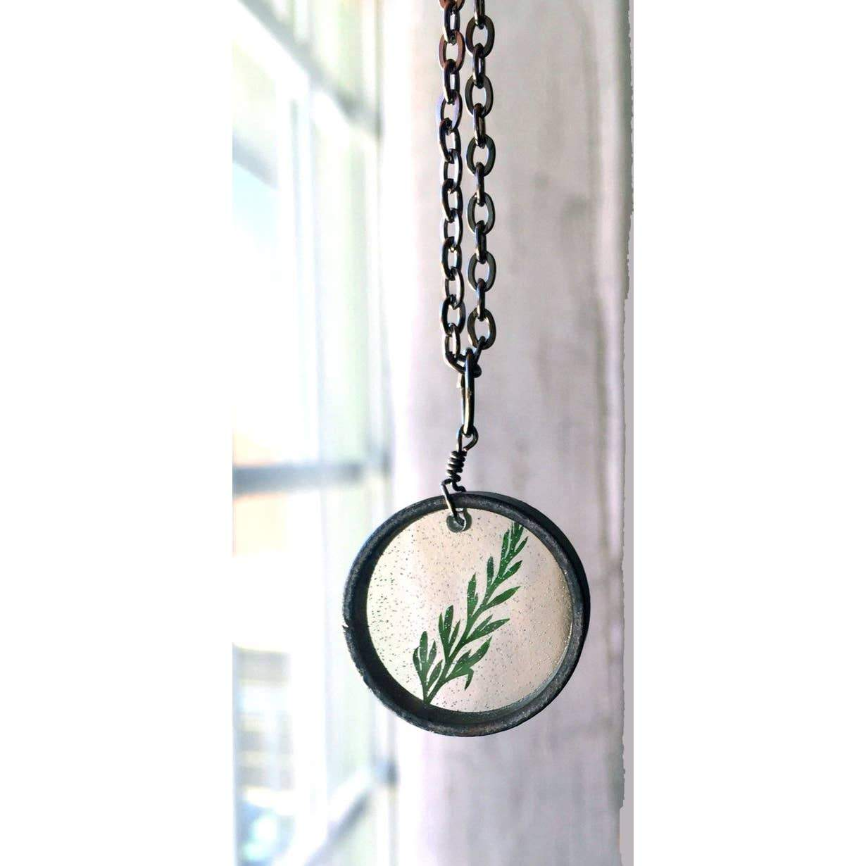 Green Fern Leaf Necklace