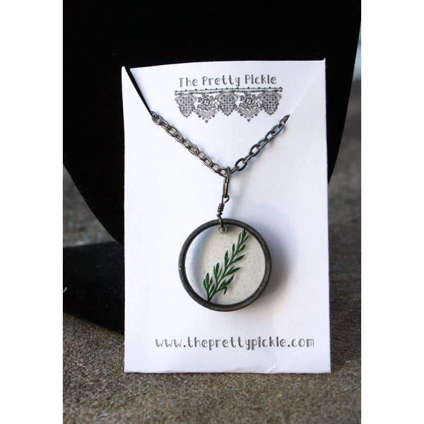 Pretty Pickle Green Fern Leaf Necklace