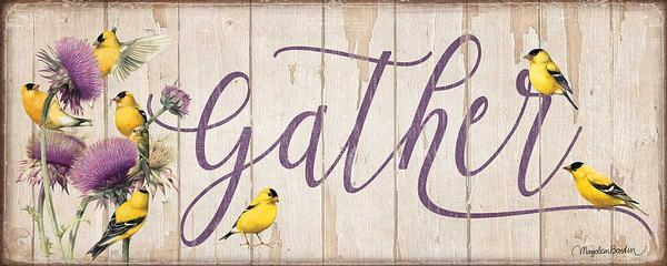 "Gather wood sign with Goldfinches 12"" x 30"""