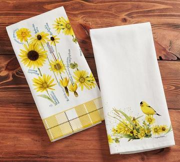 goldfinch ands daisy tea towel