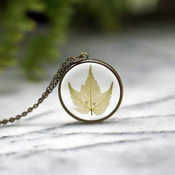 Maple Leaf Necklace - Green