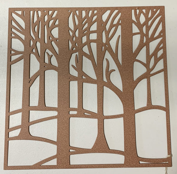 metal tree wall art with powder coat finish