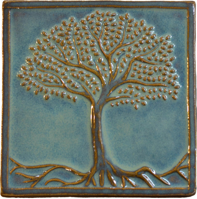 tree of life tile in green