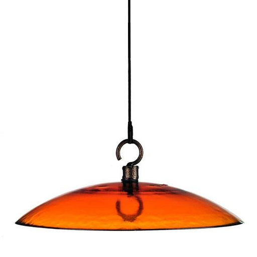 "Mosaic Birds Petite 11"" Glass Baffle Weather Dome Orange"